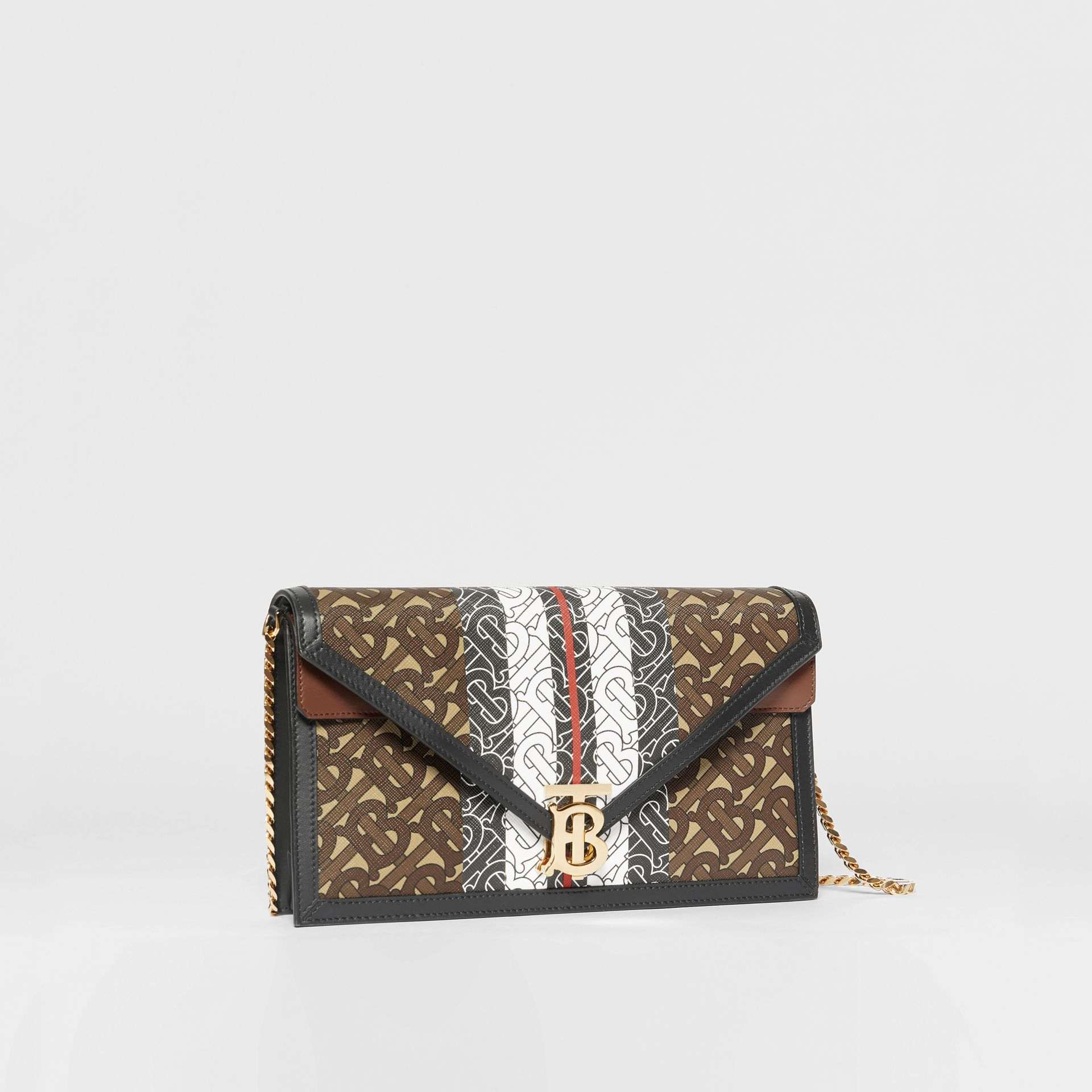 Small Monogram Stripe E-canvas TB Envelope Clutch in Bridle Brown - Women | Burberry - gallery image 6