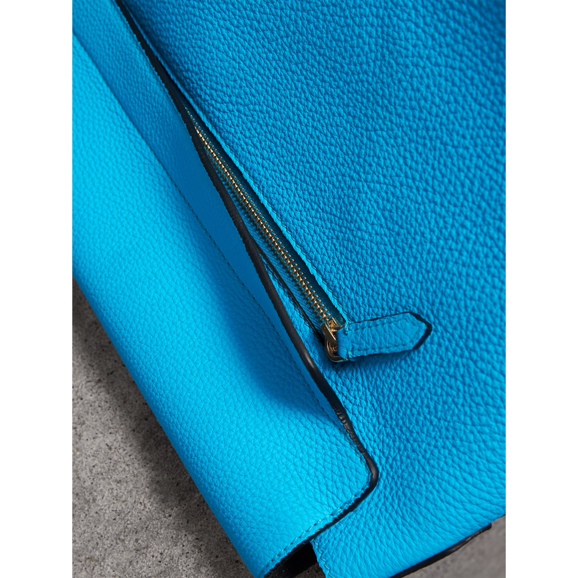 Large Embossed Leather Messenger Bag in Neon Blue | Burberry - gallery image 5