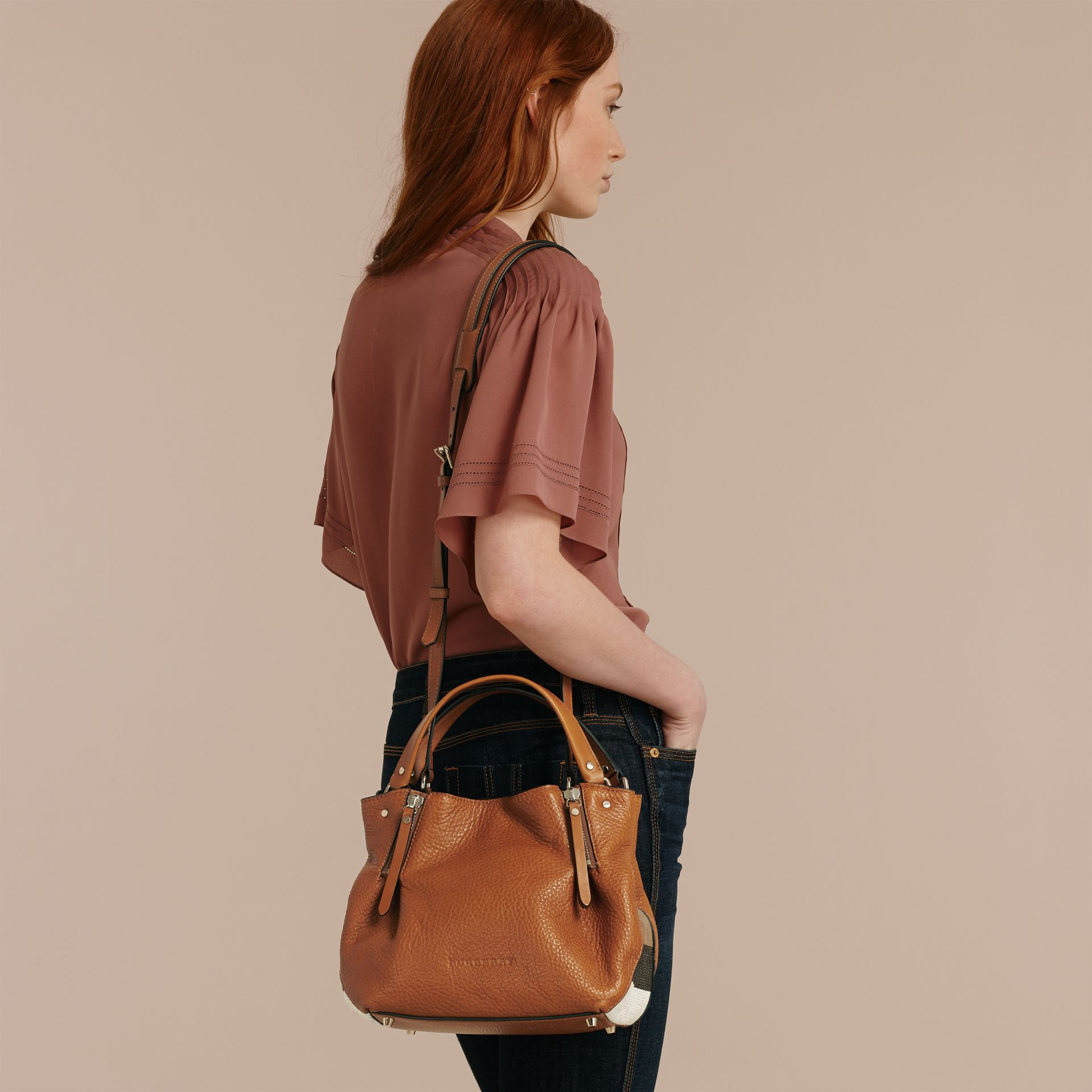 Saddle brown Small Check Detail Leather Tote Bag Saddle Brown - gallery image 3