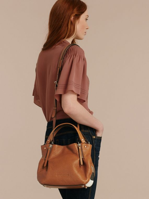 Saddle brown Small Check Detail Leather Tote Bag Saddle Brown - cell image 2