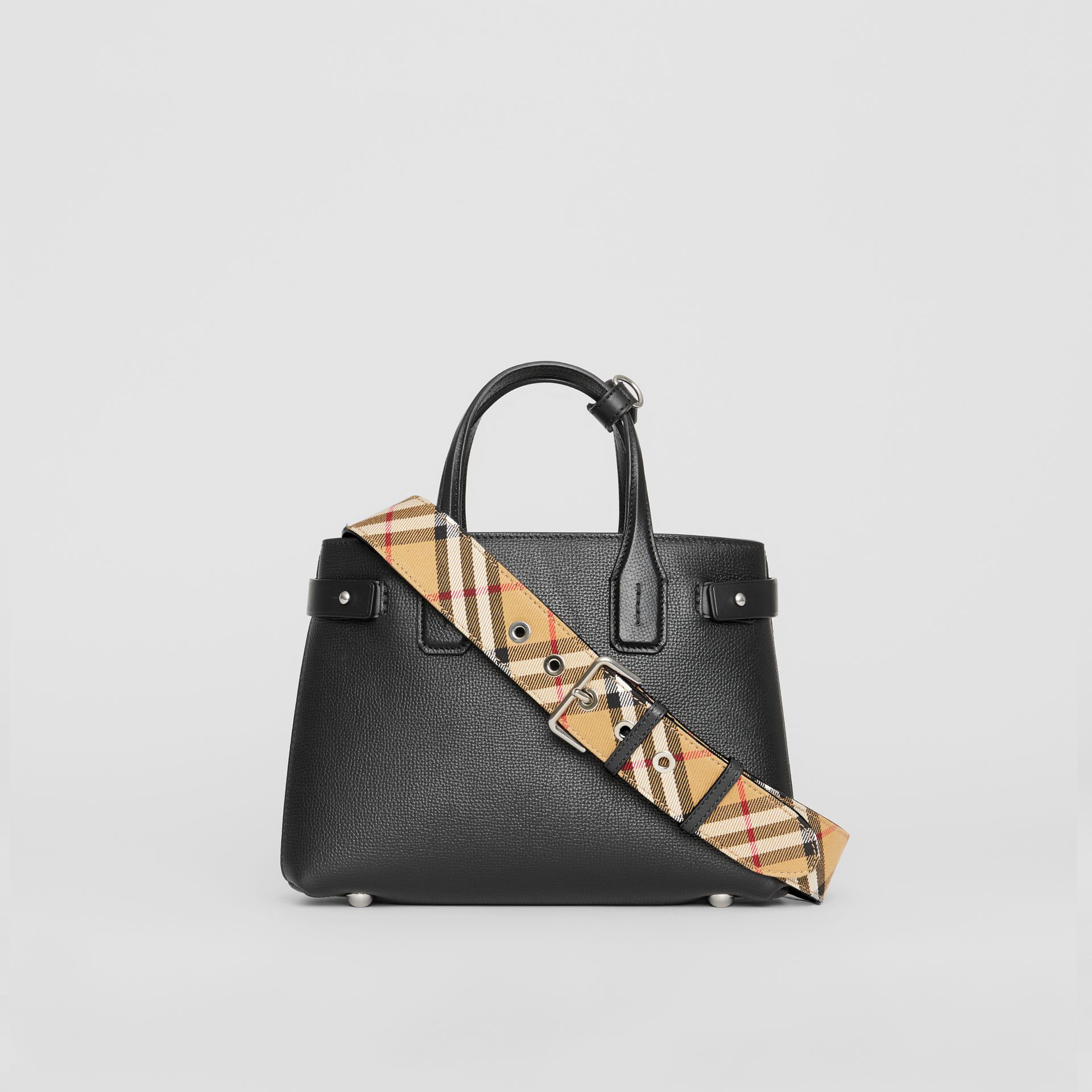 The Small Banner in Leather and Vintage Check in Black - Women | Burberry - gallery image 7