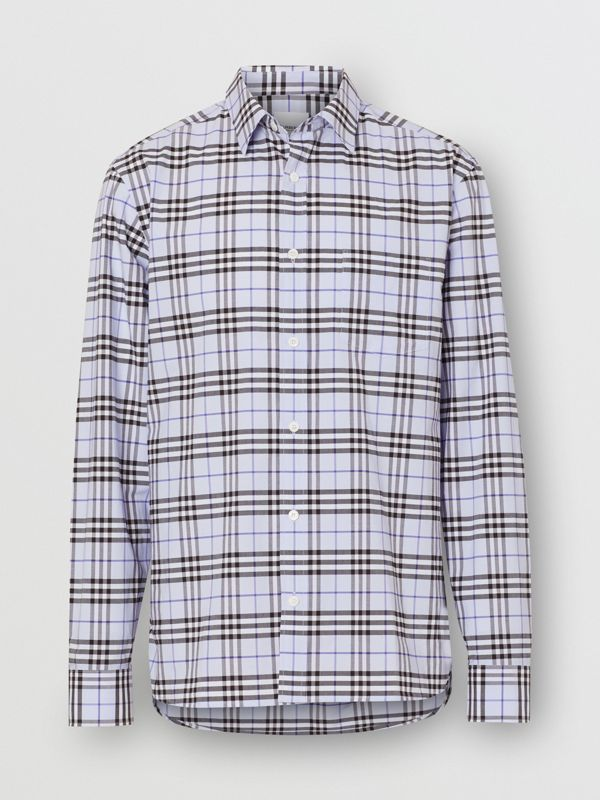 Check Stretch Cotton Shirt in Sky Blue - Men | Burberry - cell image 3