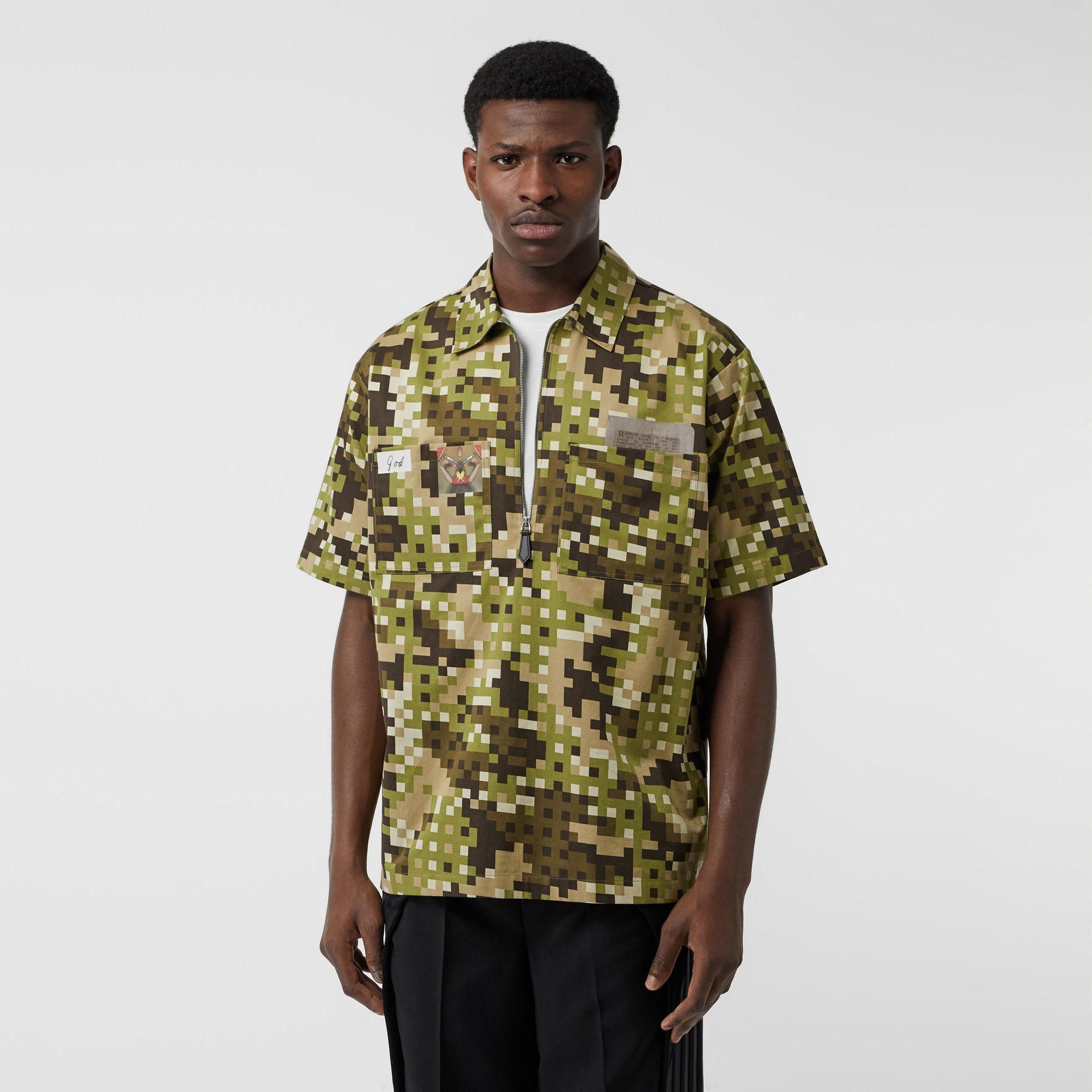 Short-sleeve Montage Print Cotton Shirt in Khaki | Burberry Australia - gallery image 5