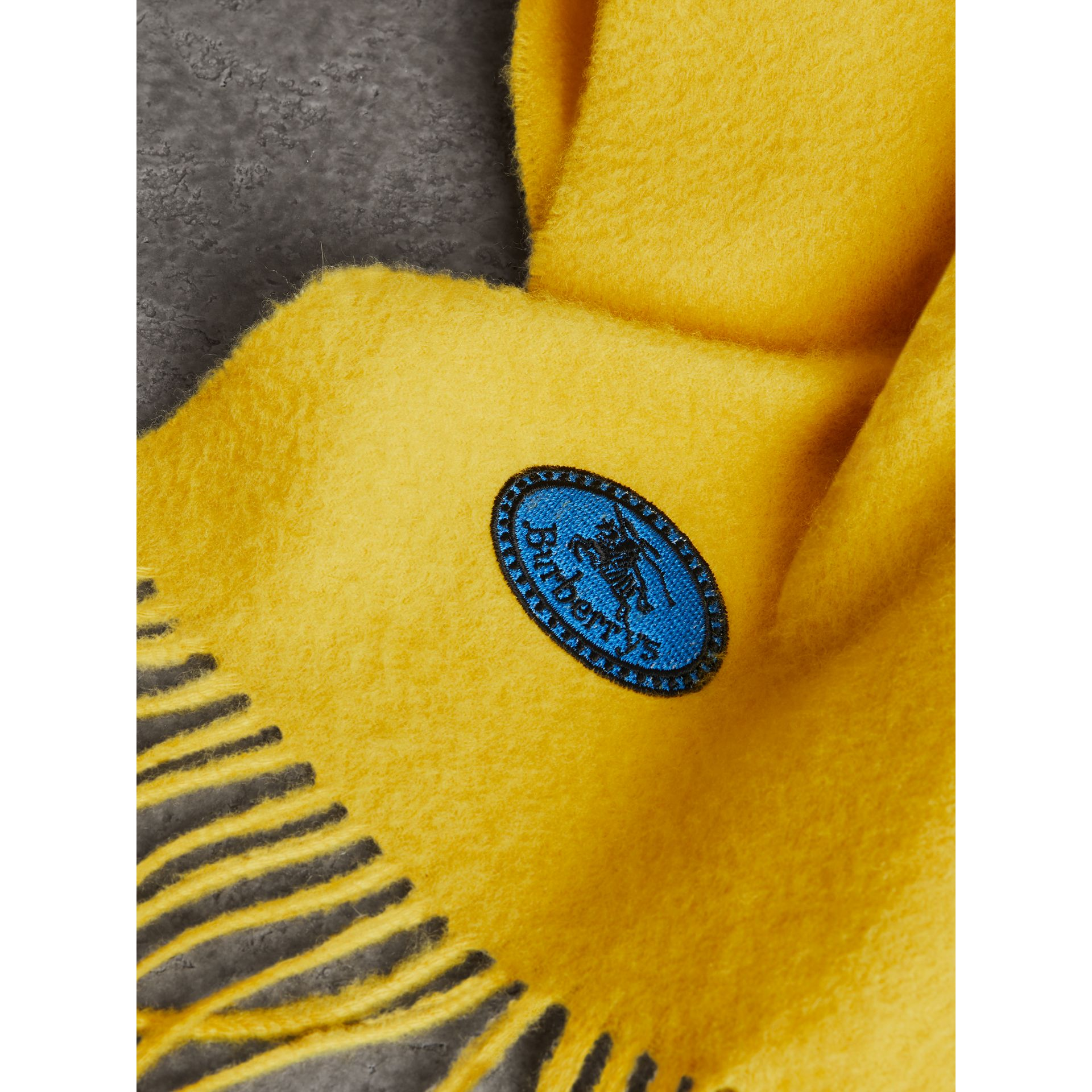 The Burberry Bandana in Embroidered Cashmere in Gorse Yellow | Burberry - gallery image 1