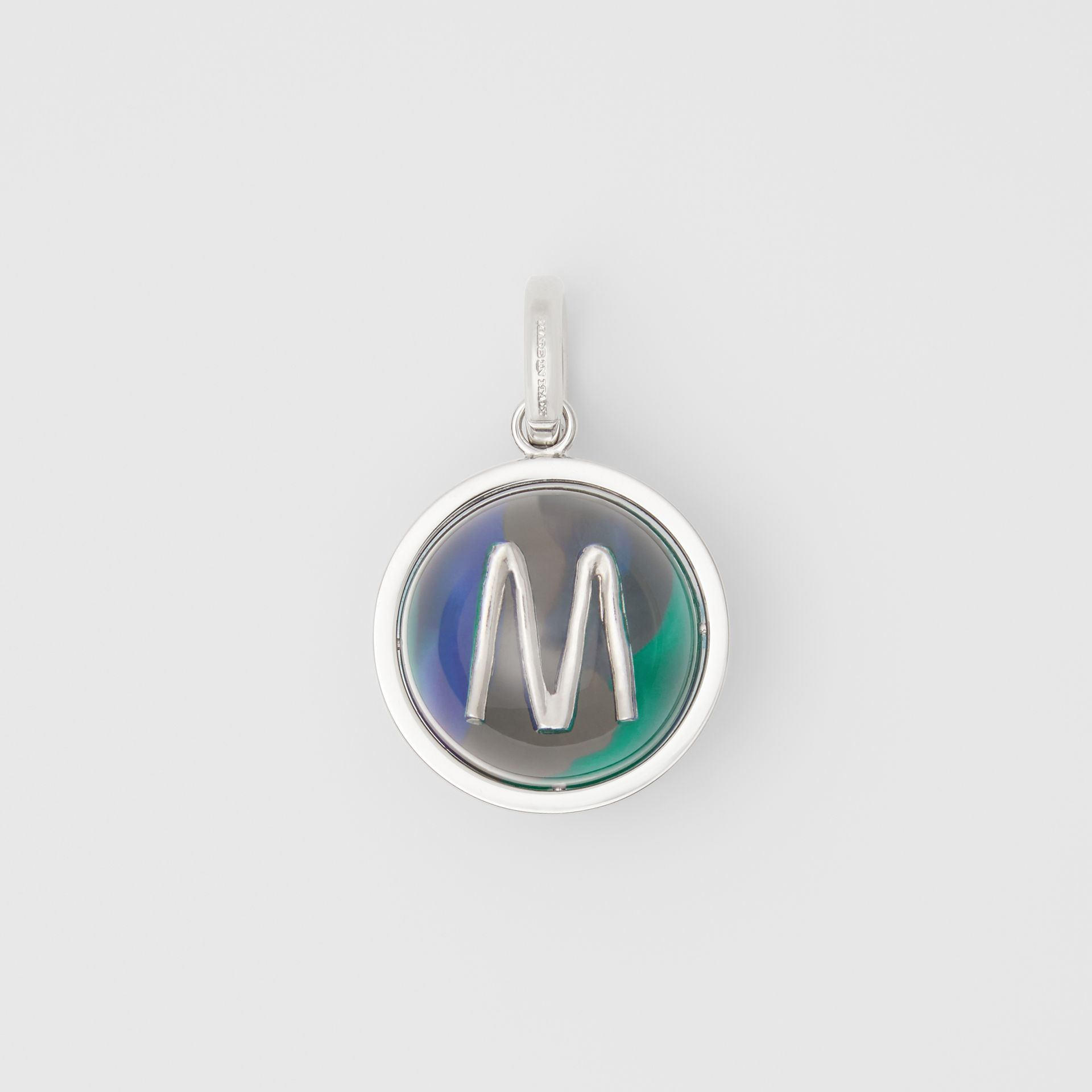 Marbled Resin 'M' Alphabet Charm in Palladio/ocean Blu - Women | Burberry - gallery image 0