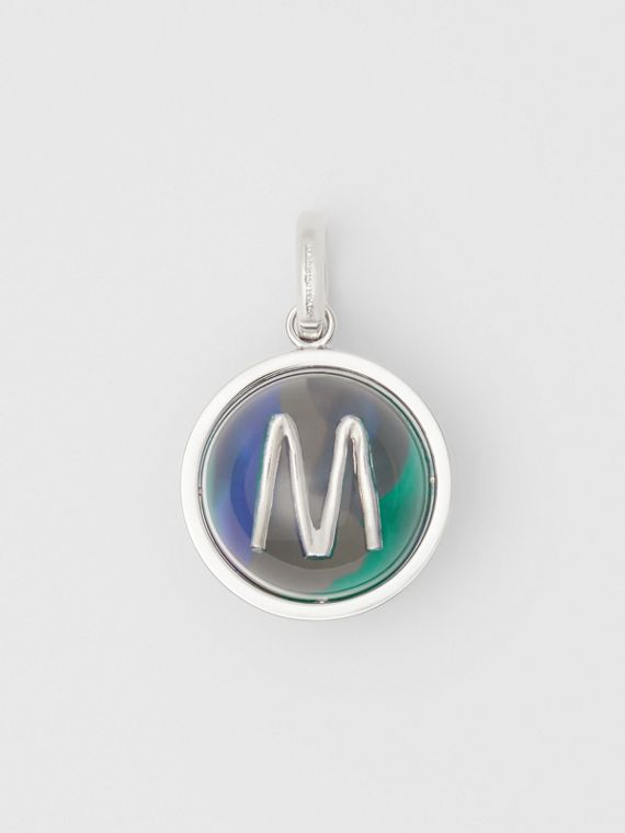 Marbled Resin 'M' Alphabet Charm in Palladio/ocean Blu