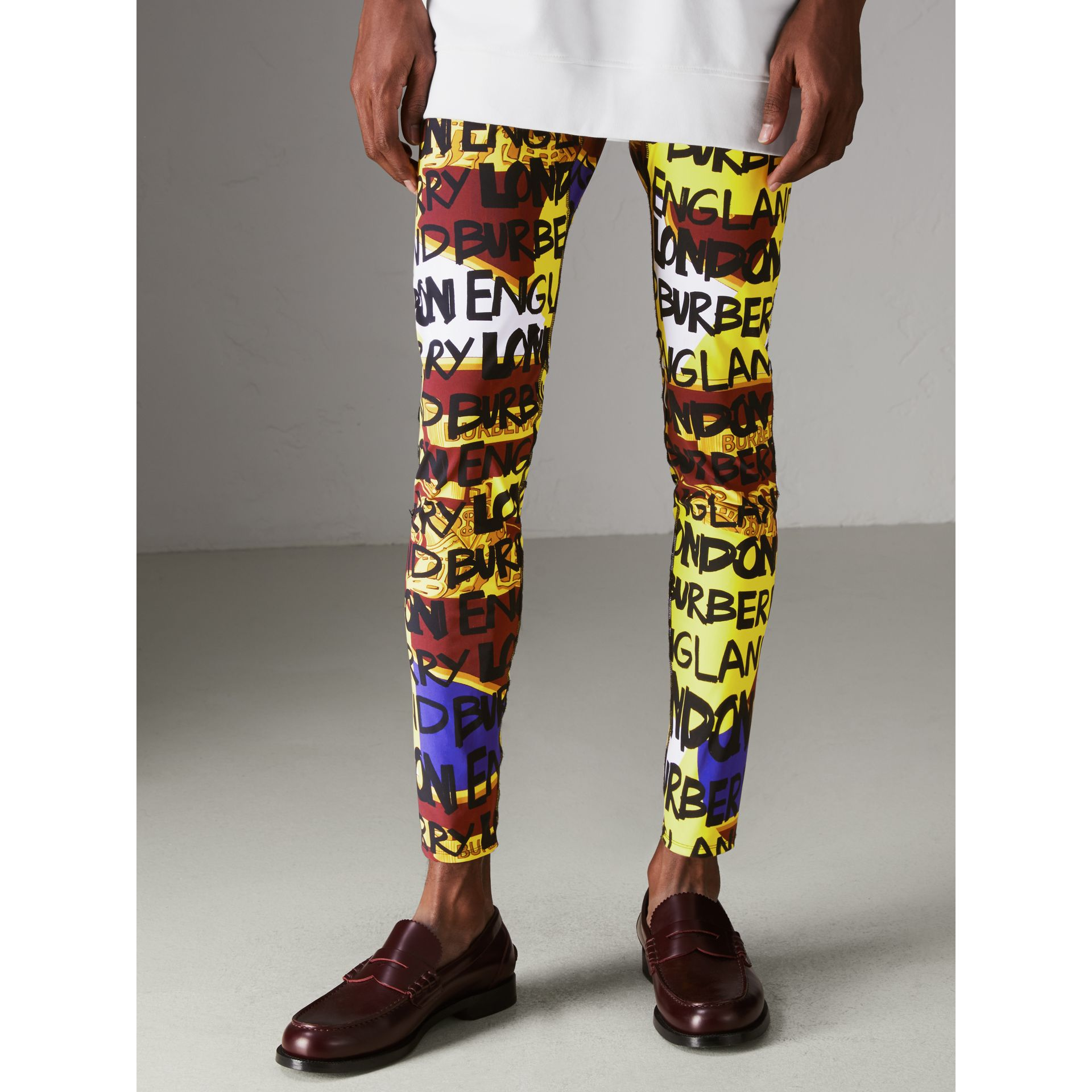 Graffiti Print Leggings in Bright Yellow - Men | Burberry - gallery image 4