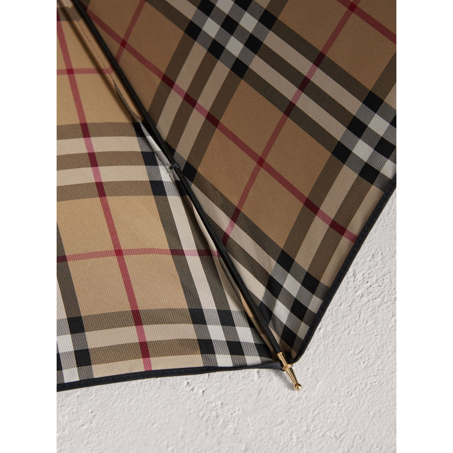 Heritage Check-lined Walking Umbrella in Black/honey | Burberry - gallery image 2