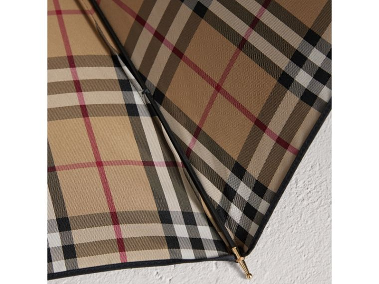 Heritage Check-lined Walking Umbrella in Black/honey | Burberry Canada - cell image 2