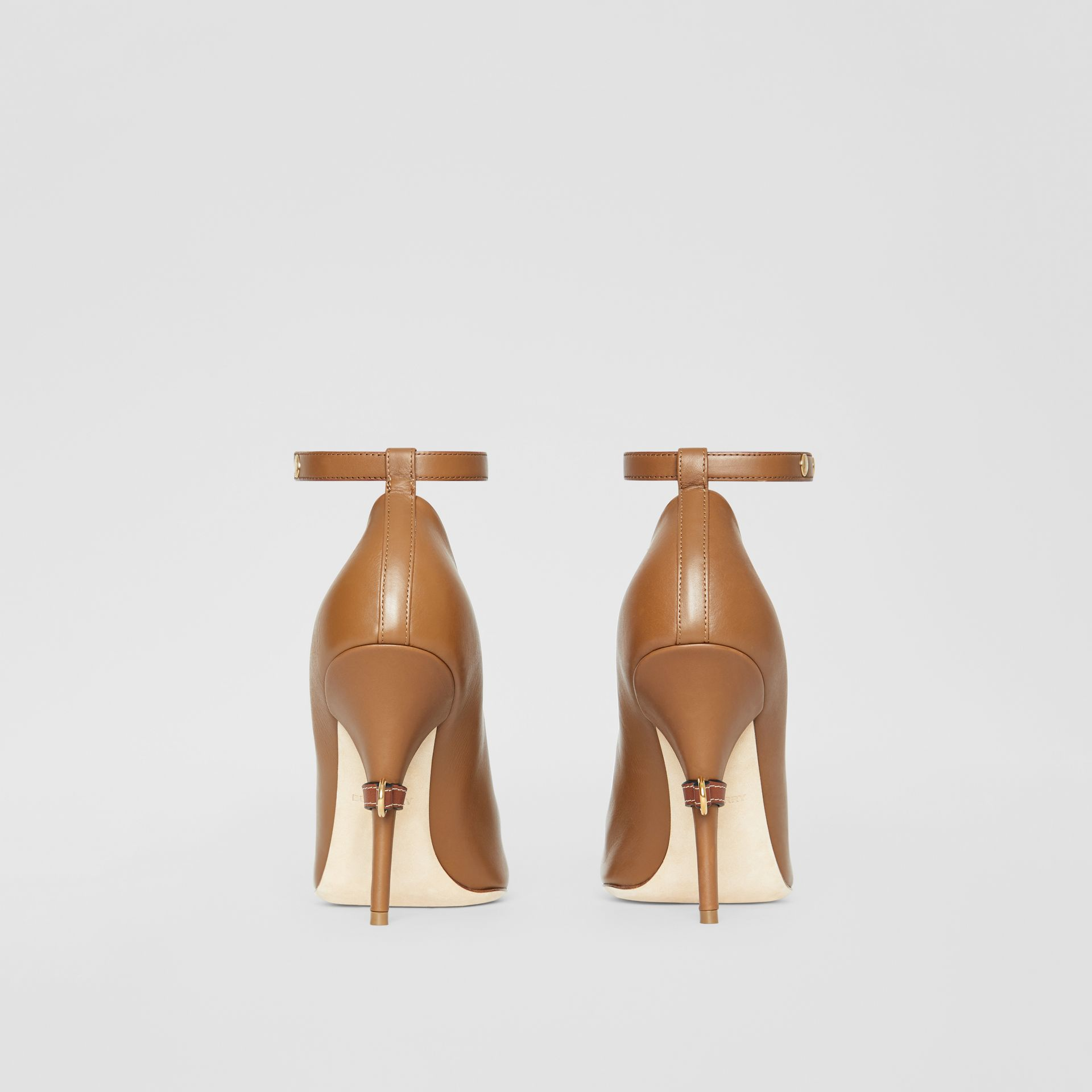 D-ring Detail Leather Peep-toe Pumps in Amber Brown - Women | Burberry - gallery image 4