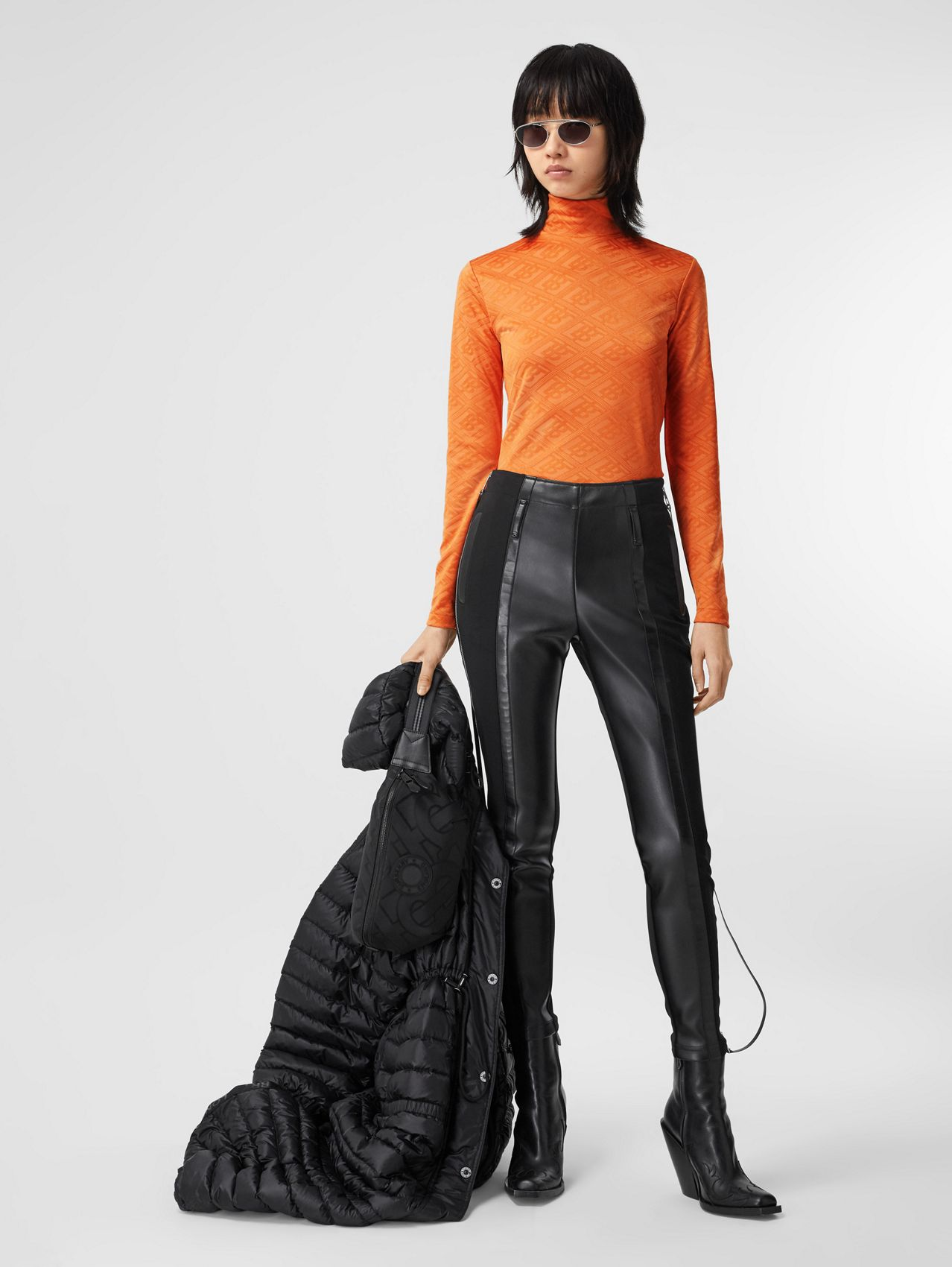 Logo Graphic Jersey Turtleneck Top in Bright Orange