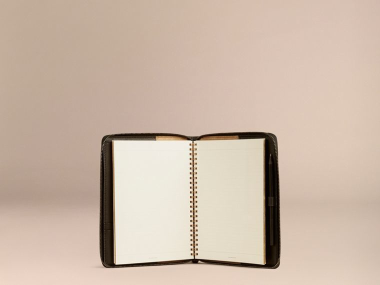 Black Ziparound Leather and Horseferry Check Detail A5 Notebook - cell image 4