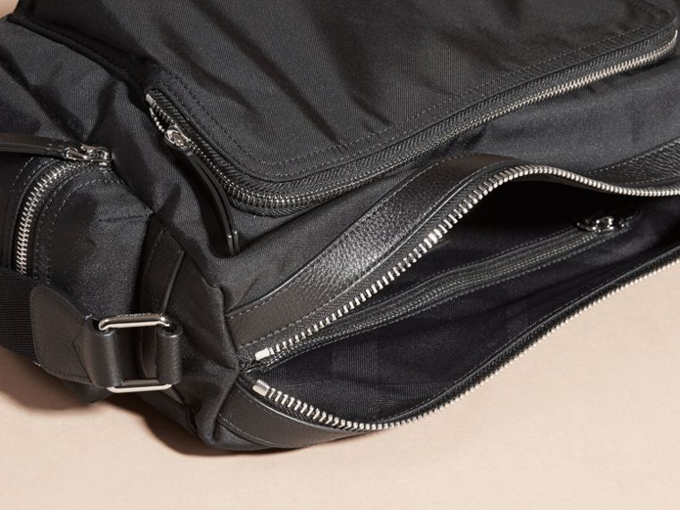 Black Leather Trim Messenger Bag Black - cell image 4
