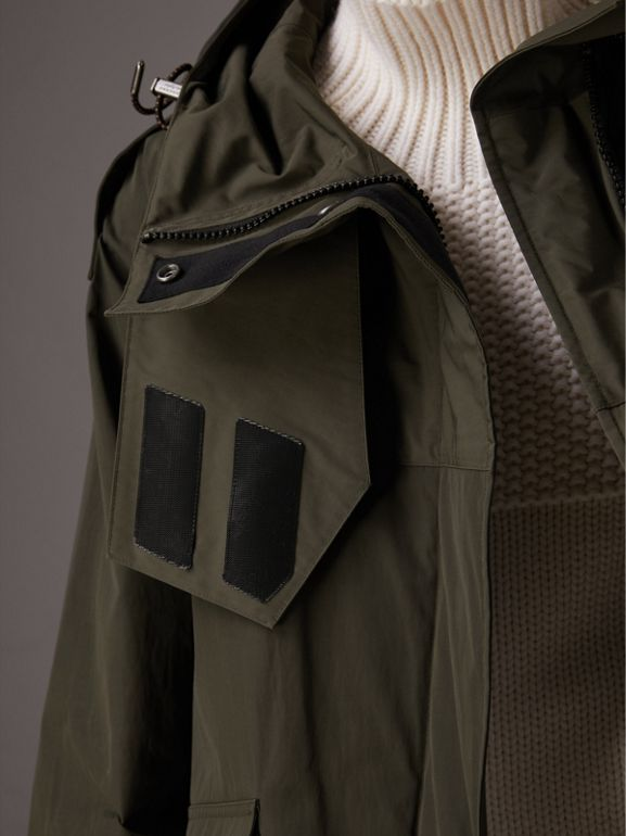 Hooded Parka with Quilted Lining in Dark Forest Green - Women | Burberry - cell image 1
