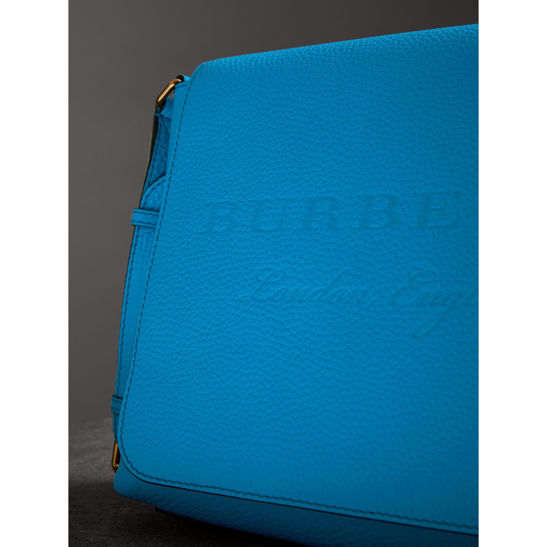Medium Embossed Leather Messenger Bag in Neon Blue | Burberry - gallery image 1