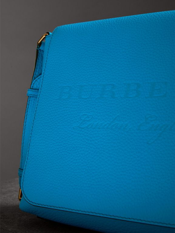 Medium Embossed Leather Messenger Bag in Neon Blue | Burberry - cell image 1