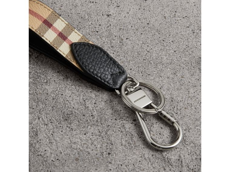 Haymarket Check and Leather Key Ring in Black - Men | Burberry United Kingdom - cell image 2