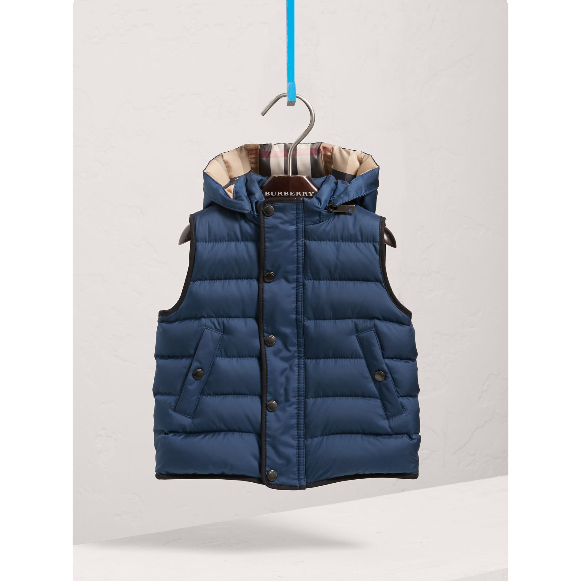 Down-filled Hooded Gilet in Ink Blue | Burberry United States - gallery image 3