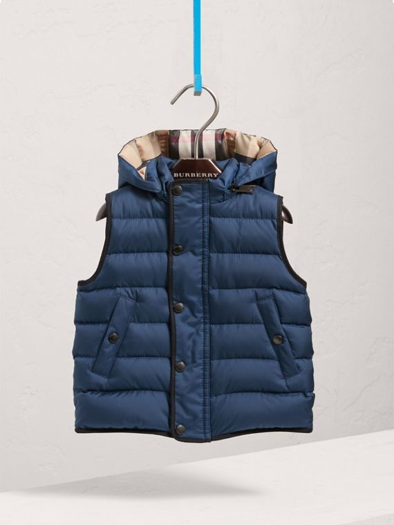 Down-filled Hooded Gilet in Ink Blue | Burberry - cell image 2