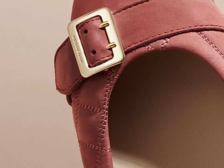 Buckle Detail Quilted Suede Ballerinas Antique Pink - cell image 1