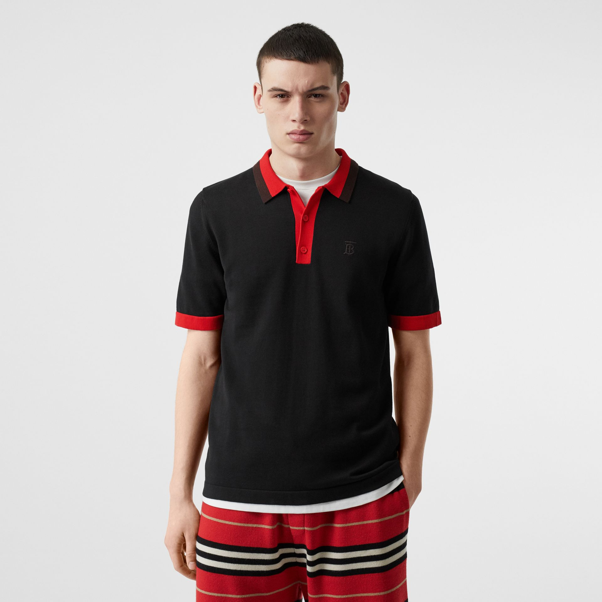 Monogram Motif Tipped Cotton Polo Shirt in Black - Men | Burberry United Kingdom - gallery image 4