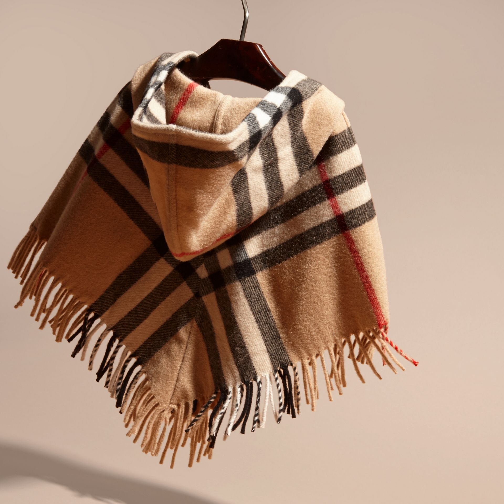 Hooded Check Wool Cashmere Cape - Girl | Burberry - gallery image 4