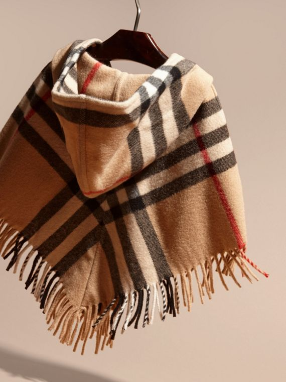 Hooded Check Wool Cashmere Cape - Girl | Burberry - cell image 3
