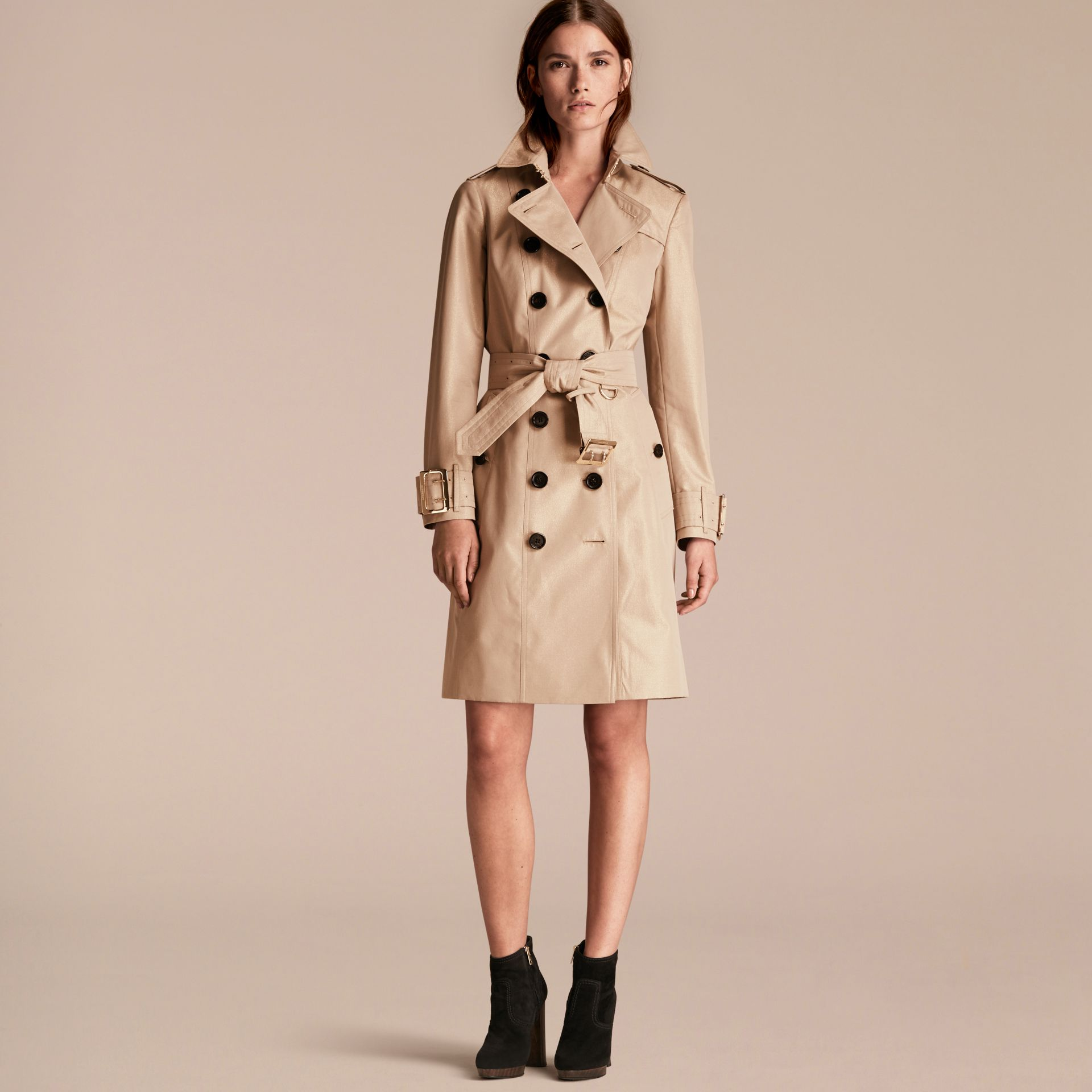 Nude gold Metallic Cotton Gabardine Trench Coat with Oversize Buckle Detail - gallery image 7