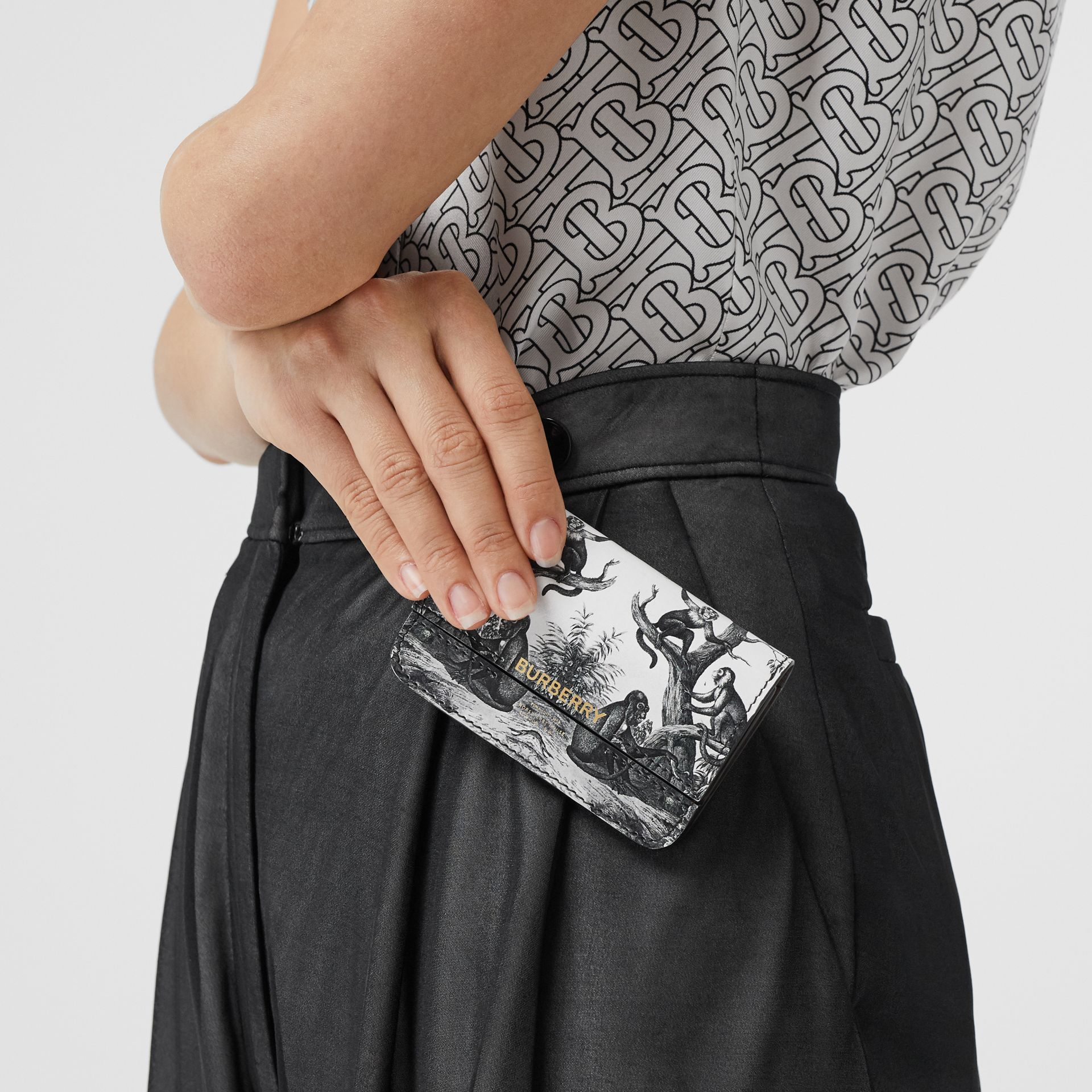 Monkey Print Leather Card Case with Chain Strap in Black/white | Burberry Australia - gallery image 2