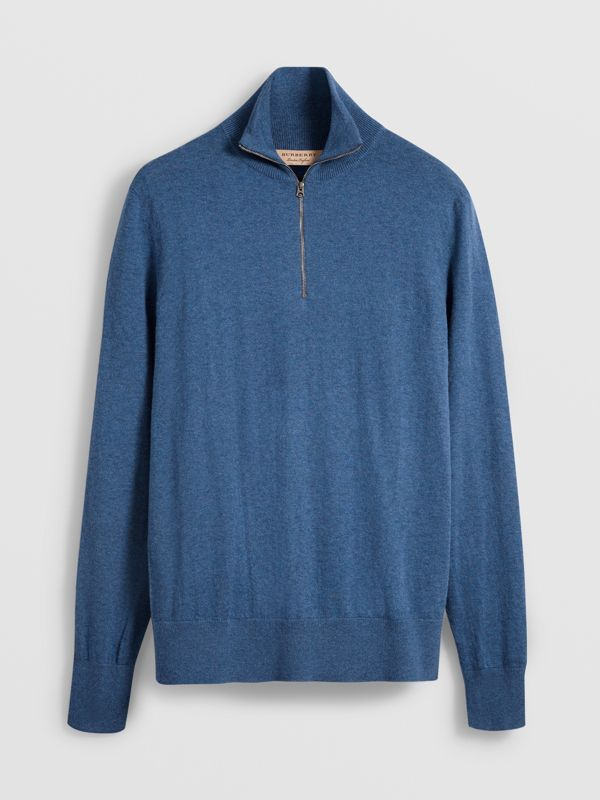 Zip-neck Cashmere Cotton Sweater in Steel Blue - Men | Burberry - cell image 3