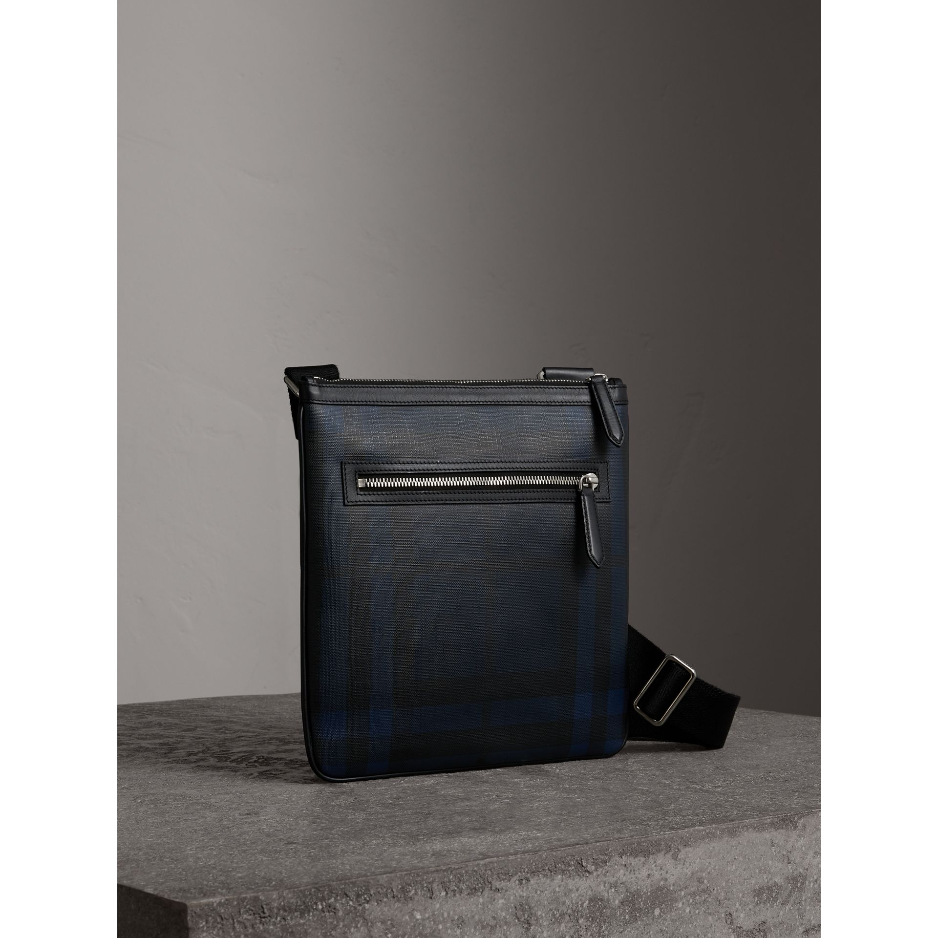 Leather Trim London Check Crossbody Bag in Navy/black - Men | Burberry Hong Kong - gallery image 5