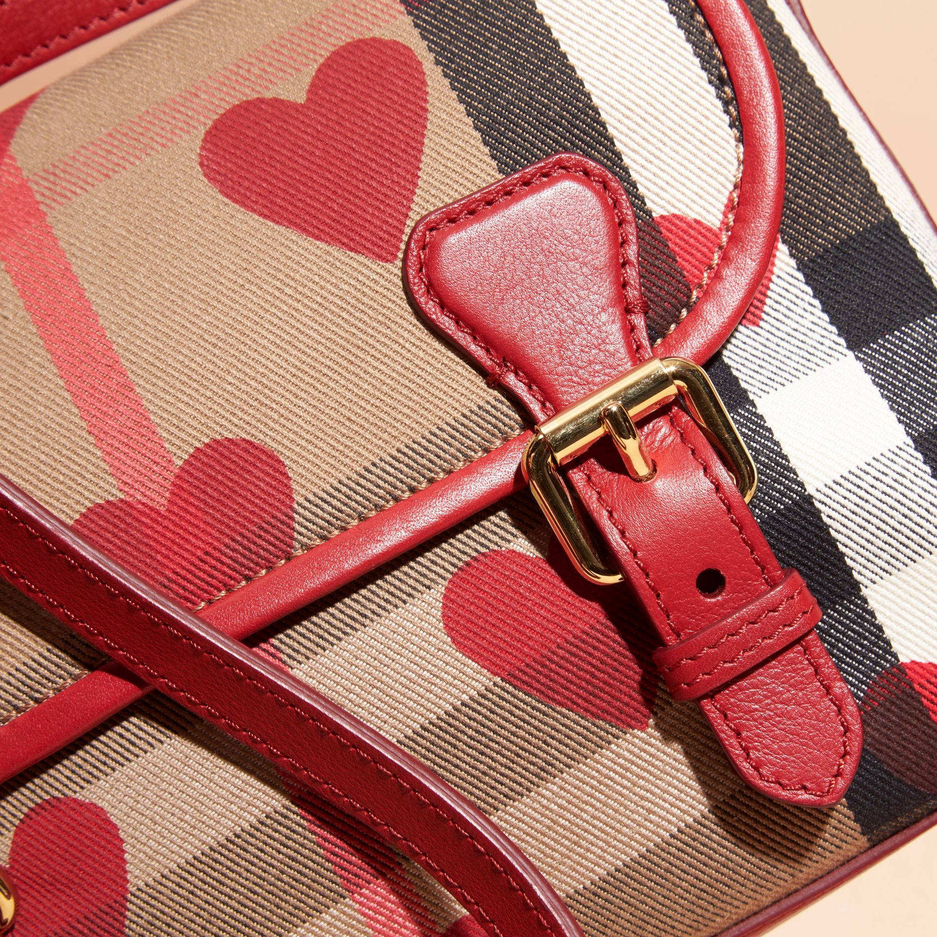 Parade red Hearts and House Check Satchel - gallery image 6
