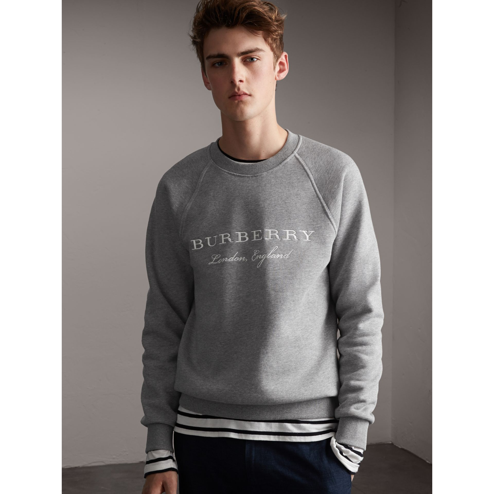 Embroidered Jersey Sweatshirt in Pale Grey Melange - Men | Burberry Singapore - gallery image 1