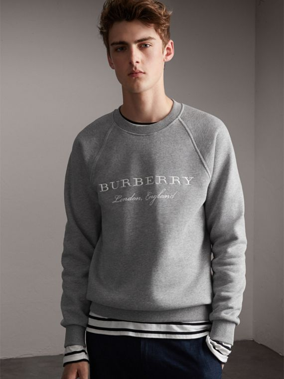 Embroidered Jersey Sweatshirt in Pale Grey Melange - Men | Burberry