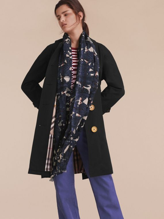 Beasts Print and Check Lightweight Wool Silk Scarf in Storm Blue - Women | Burberry - cell image 2