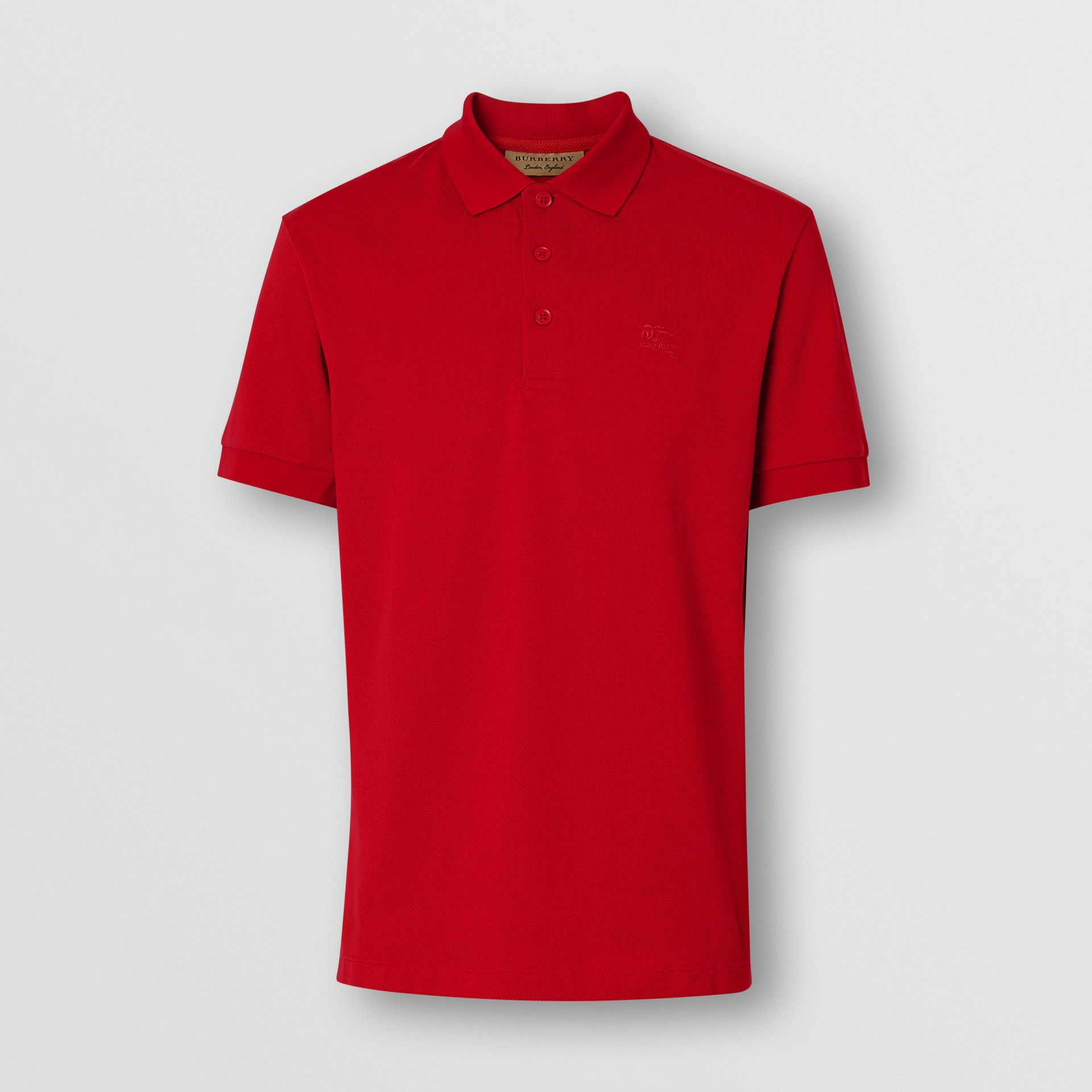 Check Placket Cotton Polo Shirt in Military Red - Men | Burberry Australia - gallery image 3