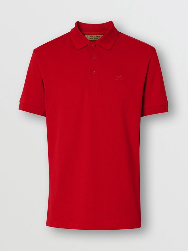 Check Placket Cotton Polo Shirt in Military Red - Men | Burberry - cell image 3