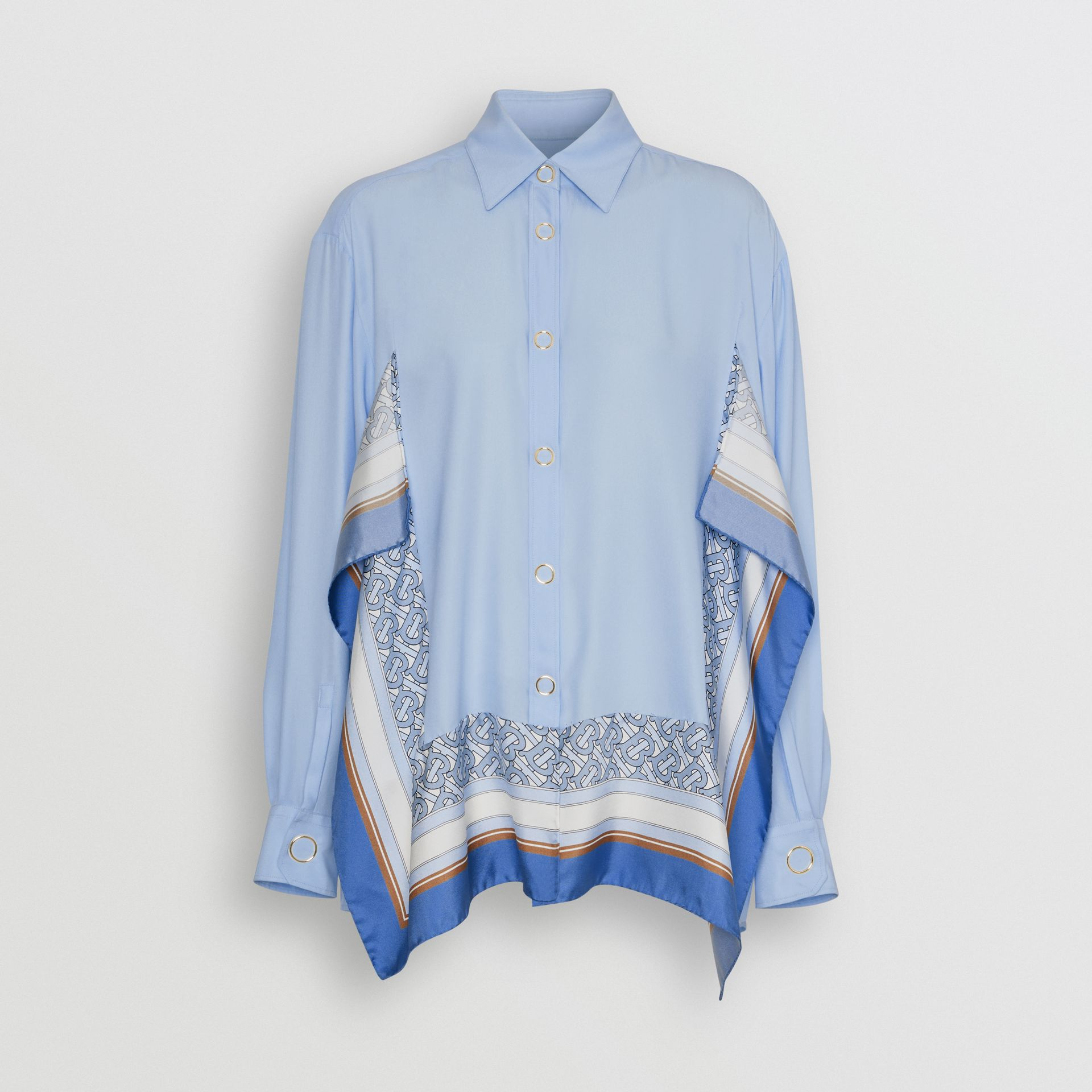 Monogram Print Trim Silk Oversized Shirt in Pale Blue - Women | Burberry - gallery image 3