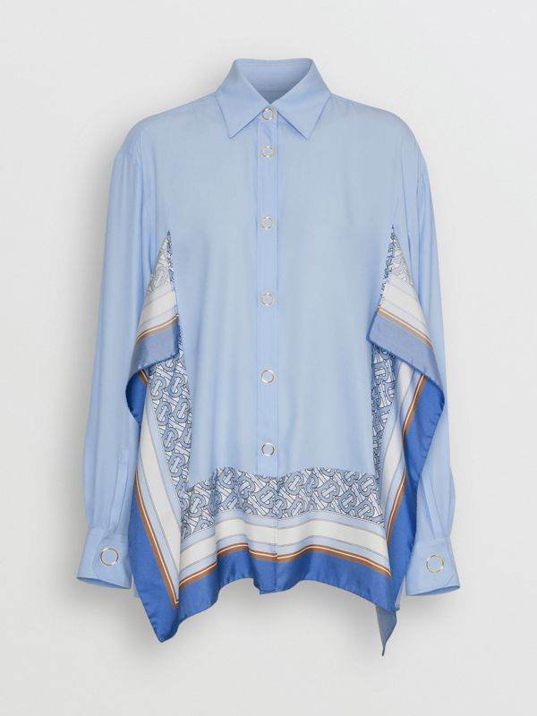 Monogram Print Trim Silk Oversized Shirt in Pale Blue - Women | Burberry - cell image 3