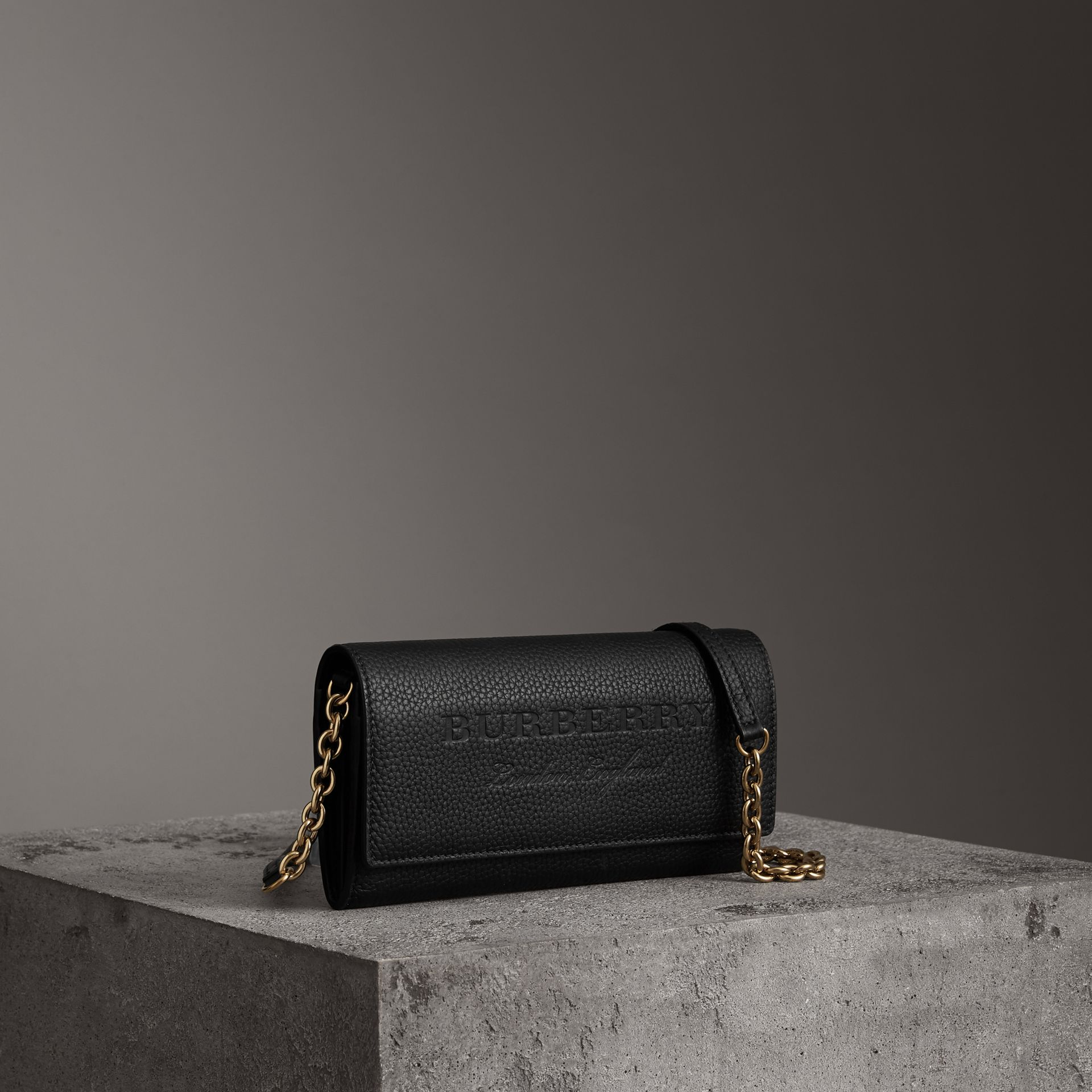 Embossed Leather Wallet with Chain in Black - Women | Burberry - gallery image 0