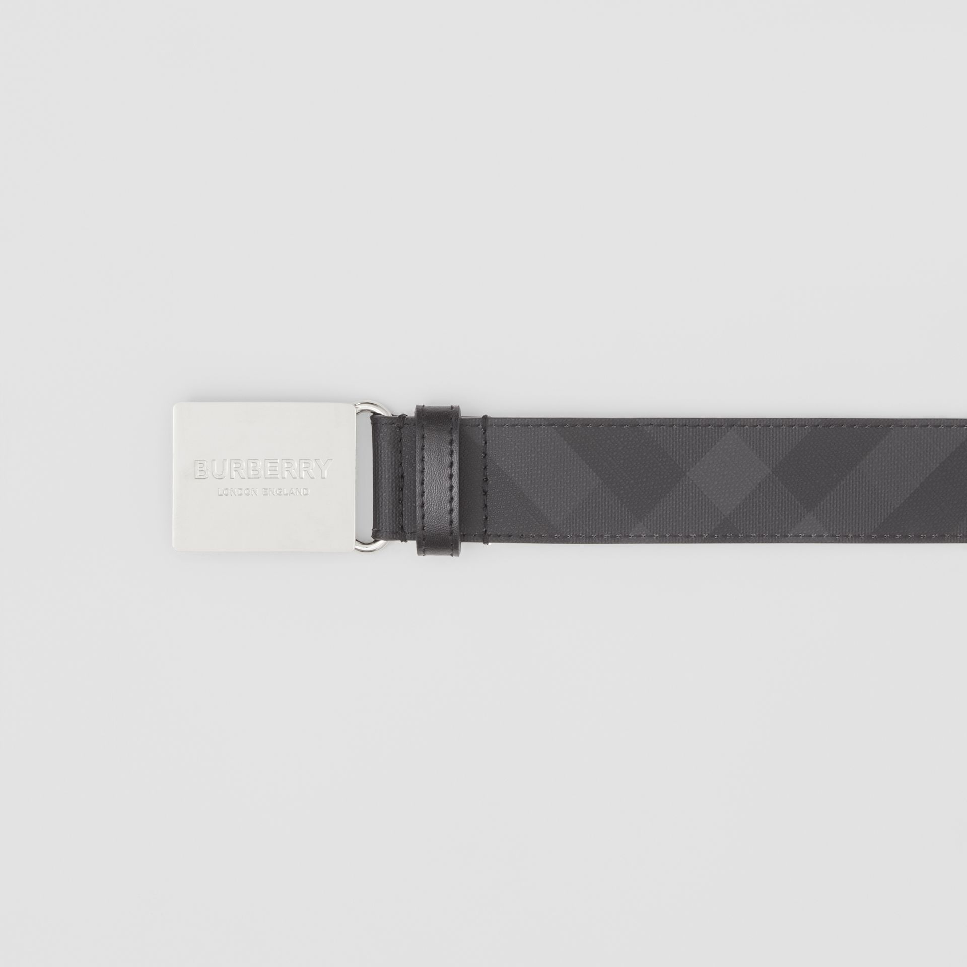 Plaque Buckle London Check and Leather Belt in Dark Charcoal/ Black - Men | Burberry Canada - gallery image 1
