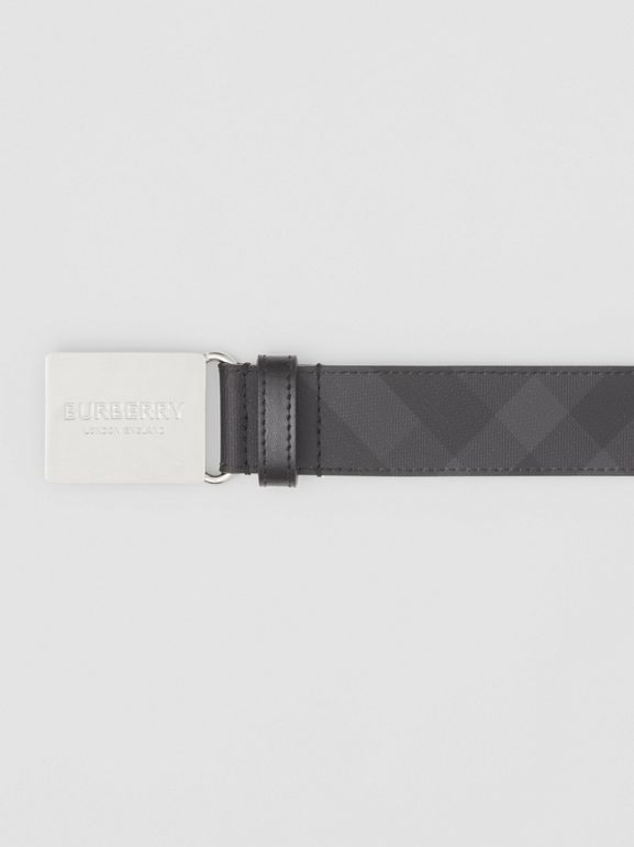Plaque Buckle London Check and Leather Belt in Dark Charcoal/ Black - Men | Burberry - cell image 1