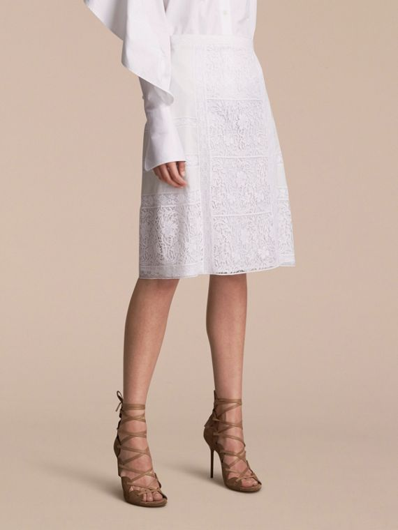 Lace Panelled Cotton A-line Skirt
