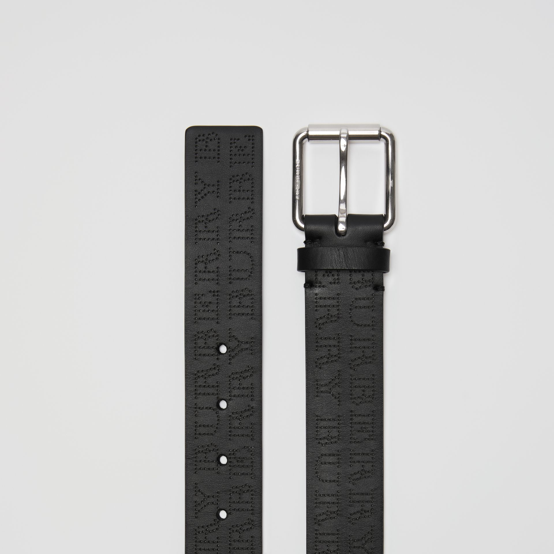 Perforated Logo Leather Belt in Black - Men | Burberry - gallery image 5