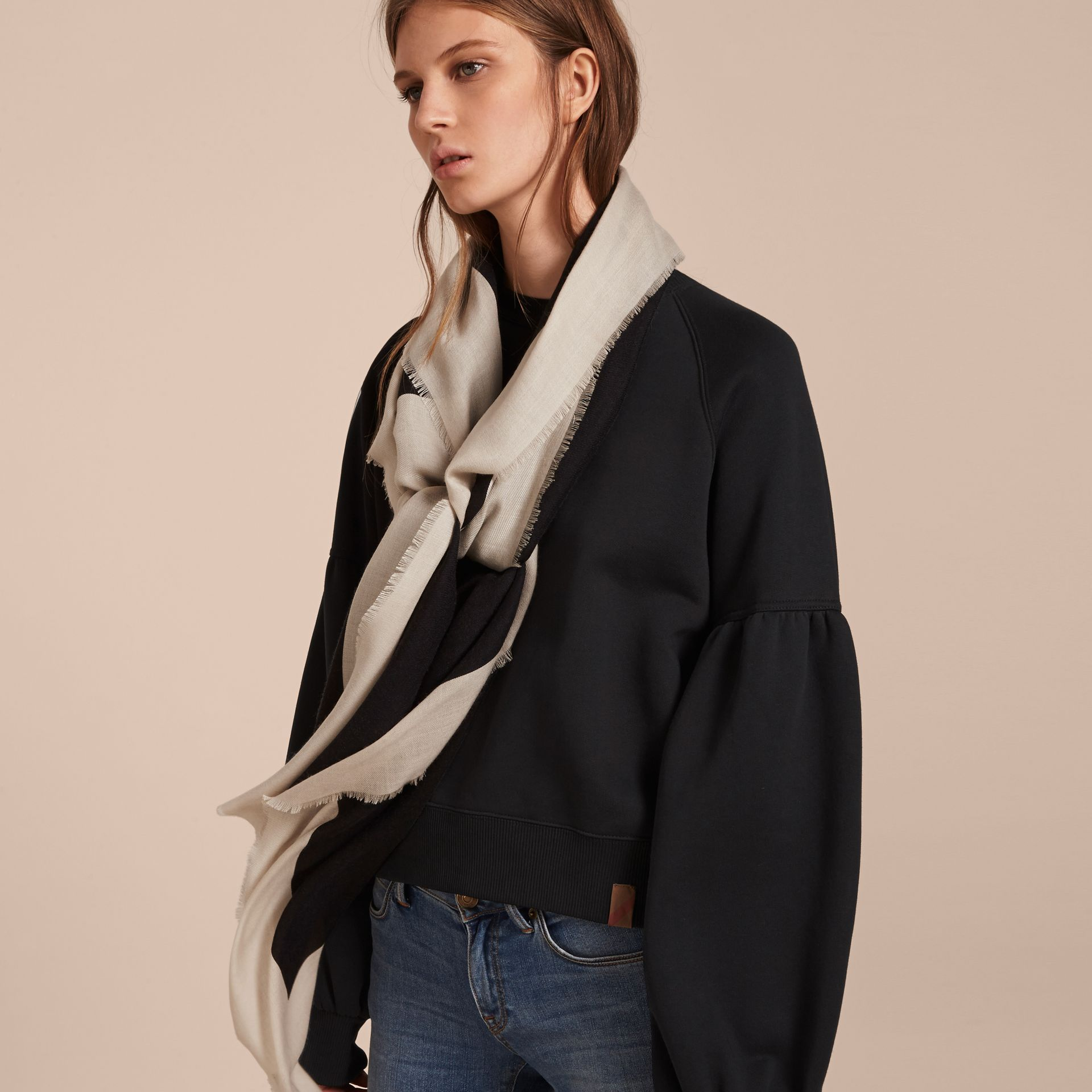 Burberry Print Cashmere Blend Scarf Black/stone - gallery image 3
