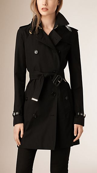 Leather Detail Cotton Gabardine Trench Coat