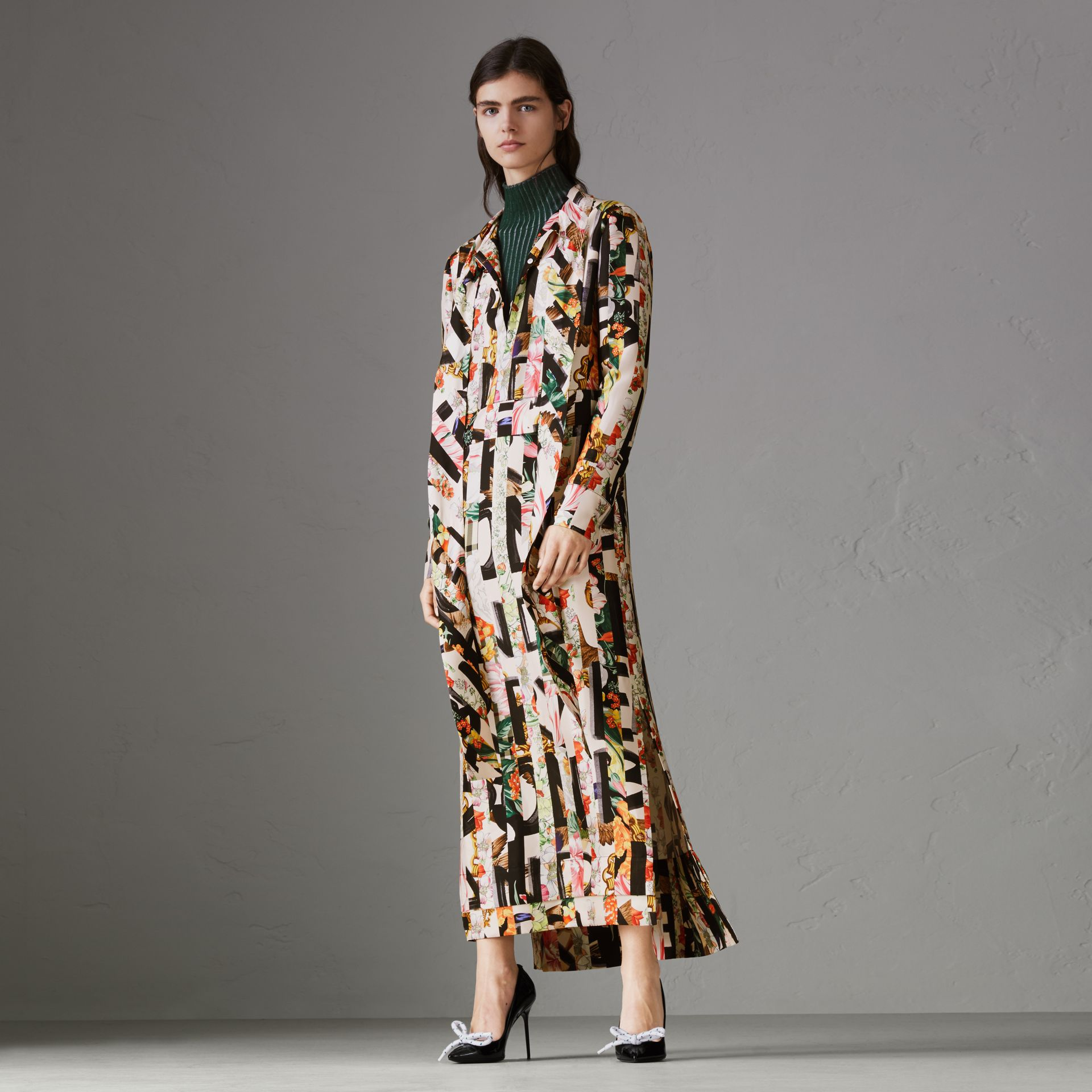 Graffiti Archive Scarf Print Silk Tie-neck Dress in Multicolour - Women | Burberry Hong Kong - gallery image 0