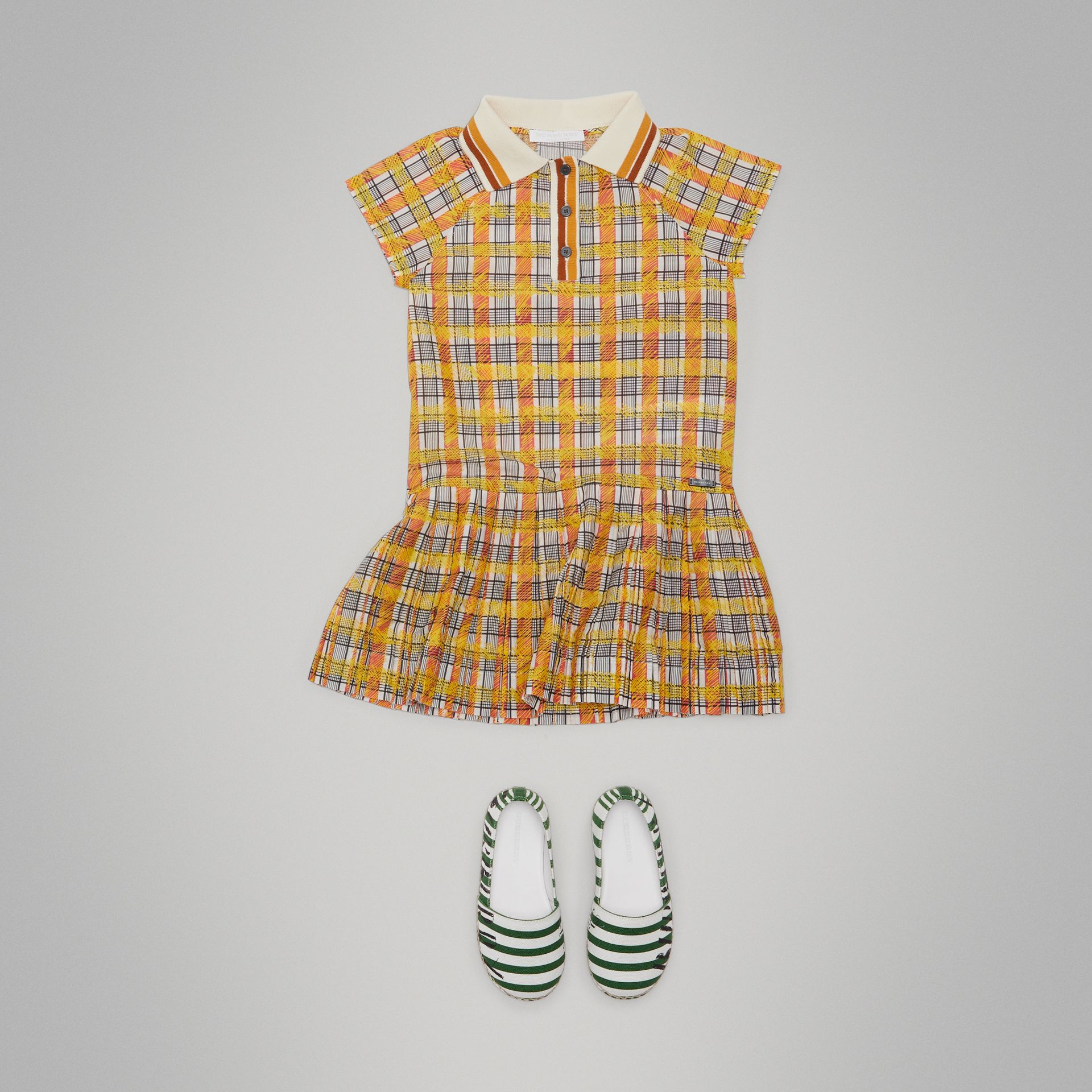 Scribble Check Collared Day Dress in Bright Yellow - Girl | Burberry - gallery image 2