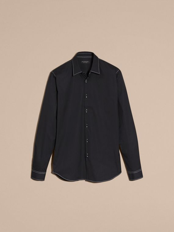 Black Contrast Topstitch Stretch Cotton Shirt Black - cell image 3
