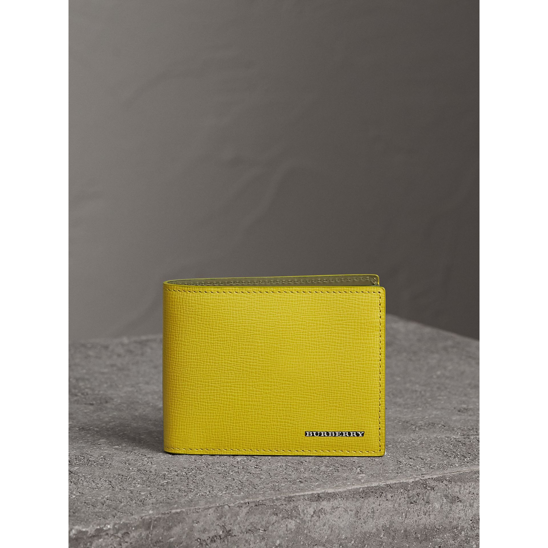 London Leather Slim Folding Wallet in Bright Citrus | Burberry Australia - gallery image 2